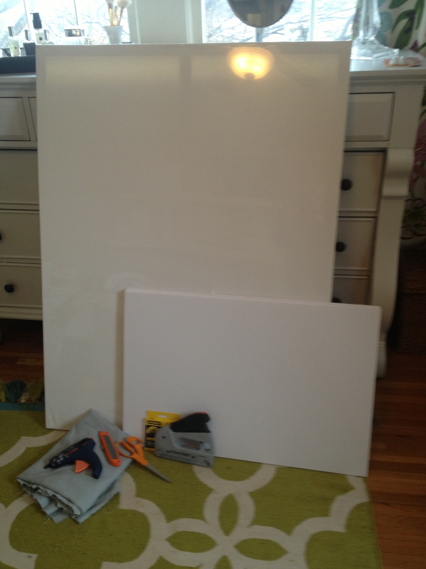 ginormous canvas, foam core boards, hot glue, staple gun, utility knife, and scissors